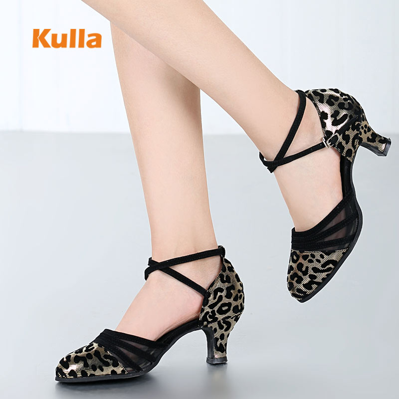 Leopard Latin Dance Shoes Women Close Toe Soft Sole Shoes Ballroom Tango Salsa Dance For Women Ladies Heels 5.5cm Female Sandals