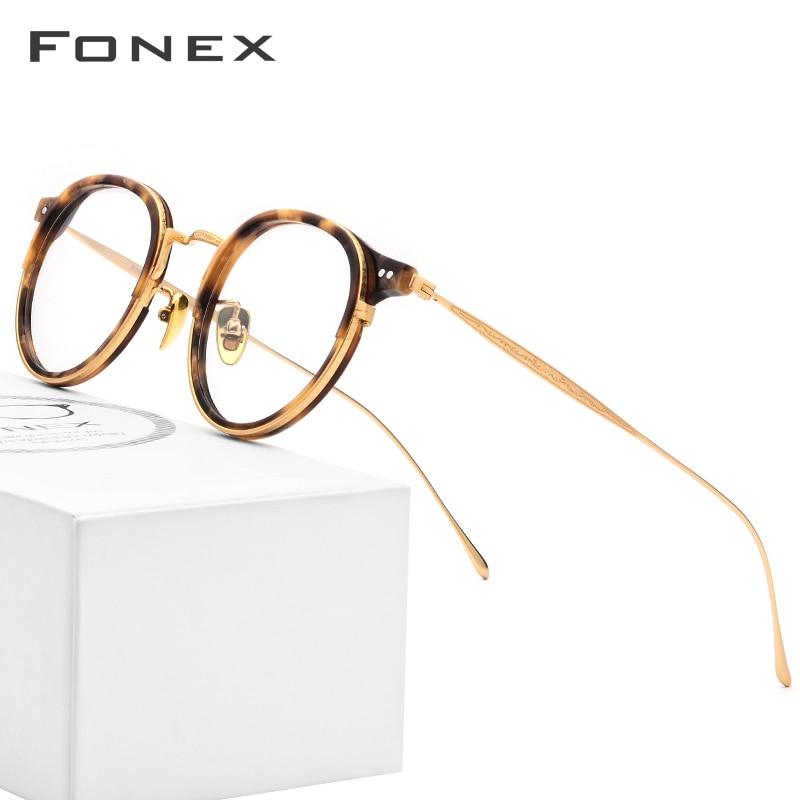 FONEX Titanium Optical Glasses Frame Men Vintage Round Prescription Eyeglasses Women Retro Myopia Acetate Spectacles Eyewear 850