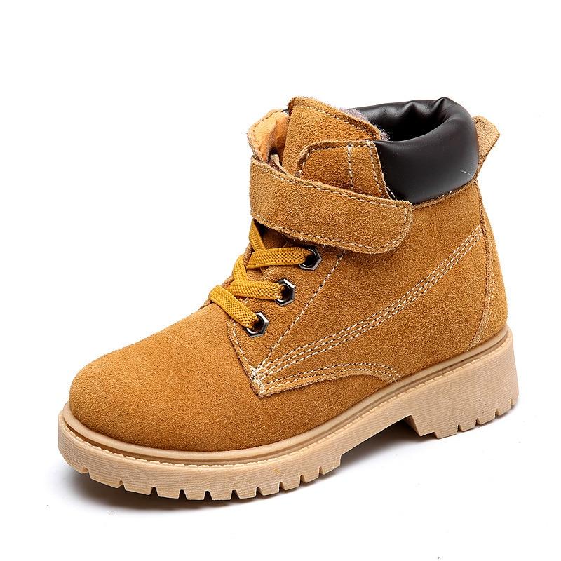SKOEX Ձմեռային մանկական կոշիկներ Բնական կաշի Մարտին կոշիկներ Աղջիկներ տղաներ Ձյան կոշիկներ երեխաների համար Հաստ տաք ջերմ կոշիկներ Երեխայի նորաձևության սպորտային կոշիկներ