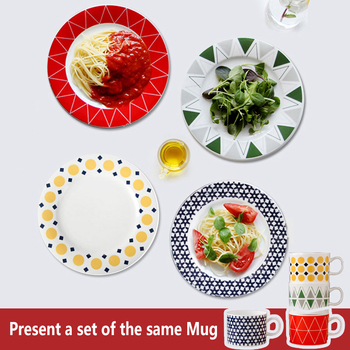8 inches Creative pattern ceramic Western food plate breakfast platebowls and dishes 4 pcs set