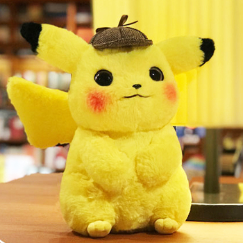 28cm Pikachu Plush Toy Stuffed Toy Detective Pikachu Japan Movie Anime Toys for Children Doll for Kid Baby Birthday Gifts Anime 30cm height limited edition eevee luma anime new plush doll for fans collection toy celebi