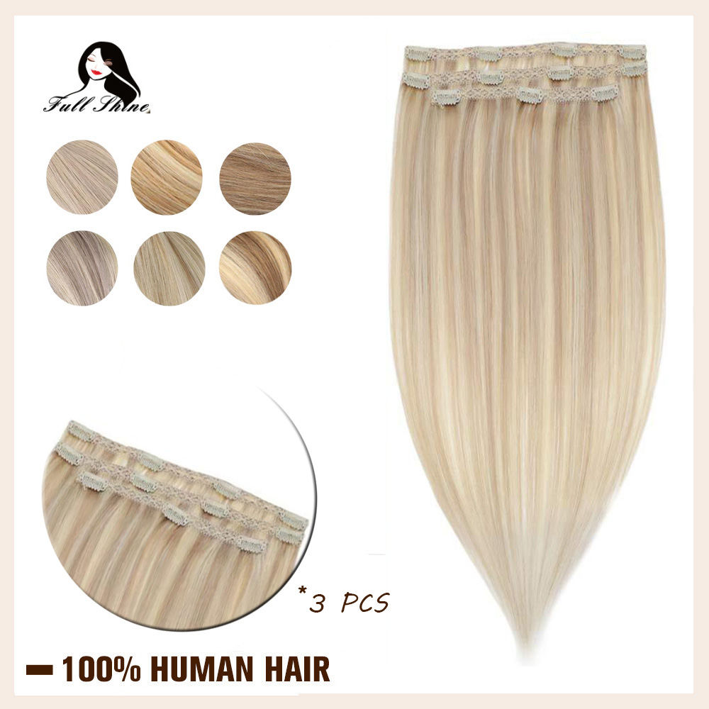 Brilho completo laço clipe de cabelo piano cor 3 pçs 50g 100% cabelo humano máquina feita remy grampo cabelo em extensões