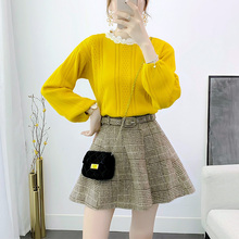 Pullover Sweater Umbrellar Skirt With Belt 2 Pcs Clothing Set Sweet Women Top Quality Lace Stitching Knitting Lattice Twinset
