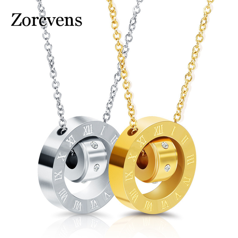 Luxury Brand Jewelry 316L Stainless Steel Double Loop Love/Roman Numerals Necklace Austrian Crystal Love Necklace For Women