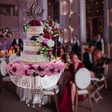 Romantic Wedding Faux Crystal Chandelier Style Drape Suspended Cake Swing Cake Stand faux crystal filigree chandelier earrings