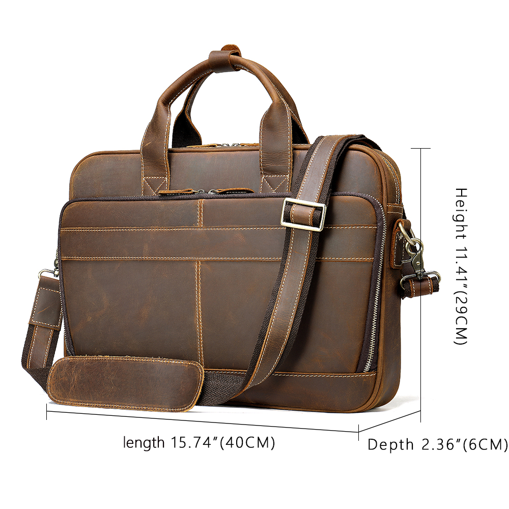 WESTAL Bag Men's Genuine Leather Men's Briefcase Leather Laptop Bag Men's Vintage Handbag 15 Inch Laptop Office Bag For Men 8368
