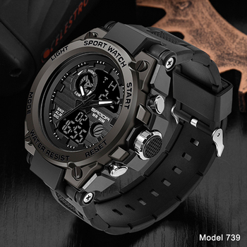 SANDA Top Luxury Watches Men Military Army Mens Watch Waterproof Sport Wristwatch Dual Display Watch Male Relogio Masculino 12