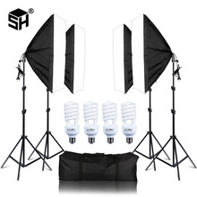 Foto Studio Rechthoek Fotografie Soft Box 8 Led 20 W Fotografische Verlichting Kit 2 Licht Stand 2 Soft box Carry tas voor Camera