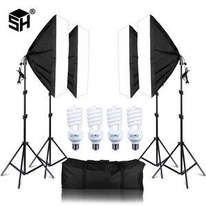 Image 1 - Foto Studio Rechthoek Fotografie Soft Box 8 Led 20 W Fotografische Verlichting Kit 2 Licht Stand 2 Soft box Carry tas voor Camera