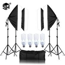 Photo Studio Rettangolo Fotografia Soft Box 8 Led 20 W Illuminazione Fotografica Kit 2 Luce Del Basamento 2 Soft box Carry sacchetto per la Macchina Fotografica