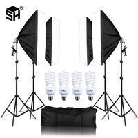 Photo Studio 4PCS LED 20W Softbox Kit Photographic Lighting Kit Camera & Photo Accessories Light Stand Softbox for Camera Photo