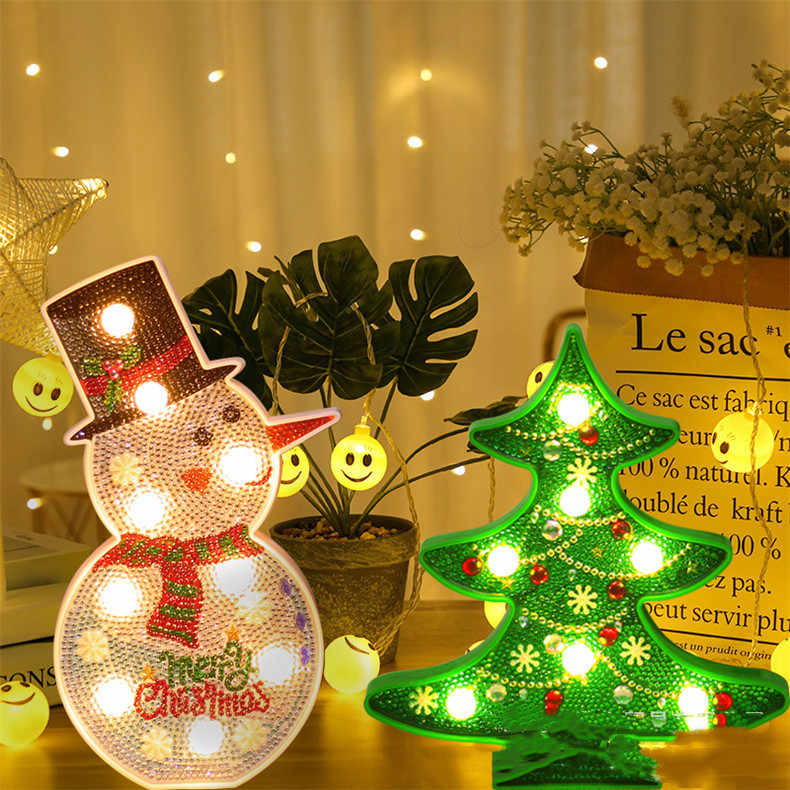 Christmas Tree and Snowman Children's Diamond Painting with Frame Full of Diamonds Home Decoration Lighted  Using Battery