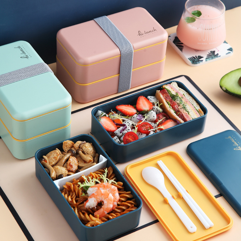 1200ml Double Layers Lunch Box With Spoon Fashion Portable Microwave Bento Box  Healthy Plastic Food Storage Container Lunchbox