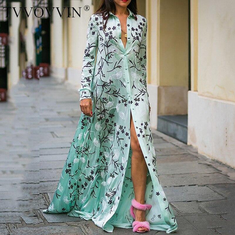 Women Dress Floral Maxi Dress Boho Summer Dress Flower Print Shirt Dress Long Sleeve Long Loose Plus Size New Vintage XXL Z008