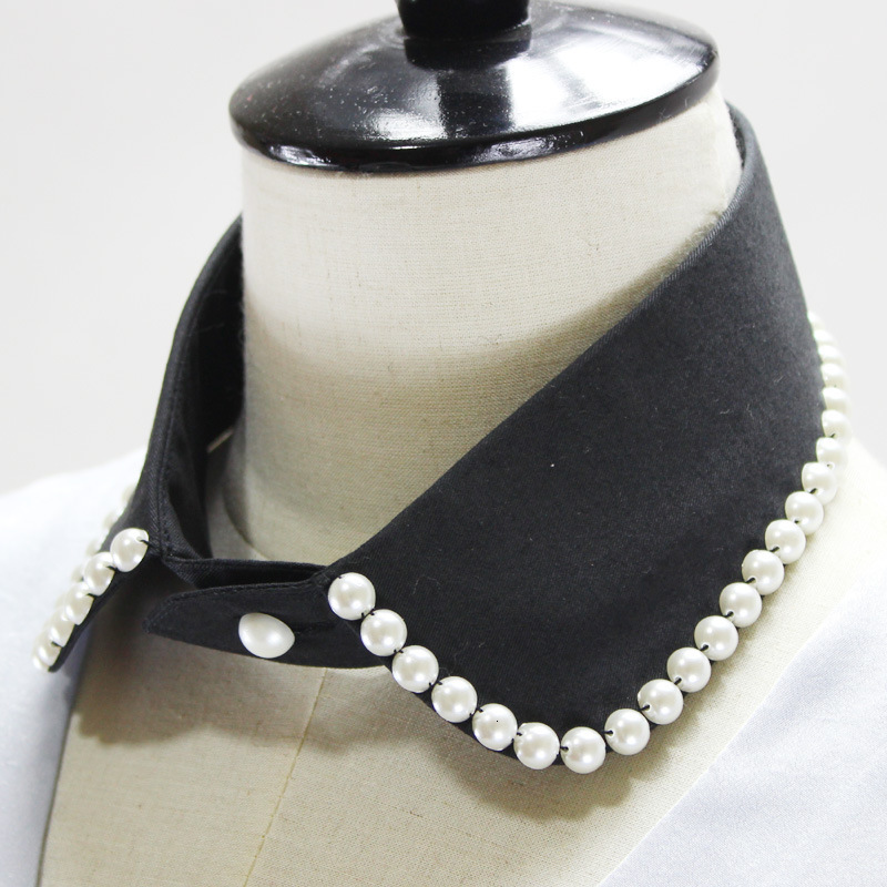 School Wind Pearl Band Velvet Dickie Small Circle Lining Fake Collar Detachable New Free Shipping Necklace Shirt Women