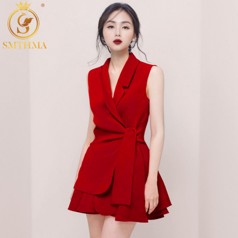 SMTHMA 2019 New Fashion High Quality Summer Women's Sleeveless Jacket + Mini Skirt Solid Two-piece Skirt Set