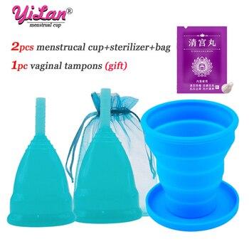 2pcs Menstrual Cup Medical Grade Silicone Copa Menstrual De Silicone Reusable Lady Cup Sterilizing Women Menstrual Period Cup