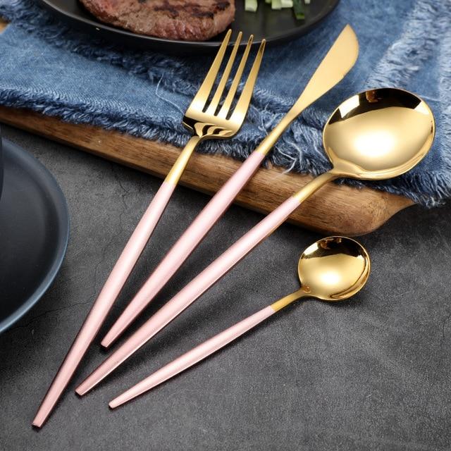24 pièces/ensemble 18/10 acier inoxydable bleu or ensemble de vaisselle couteau fourchette cuillère ensemble de couverts cuisine vaisselle argenterie ensembles