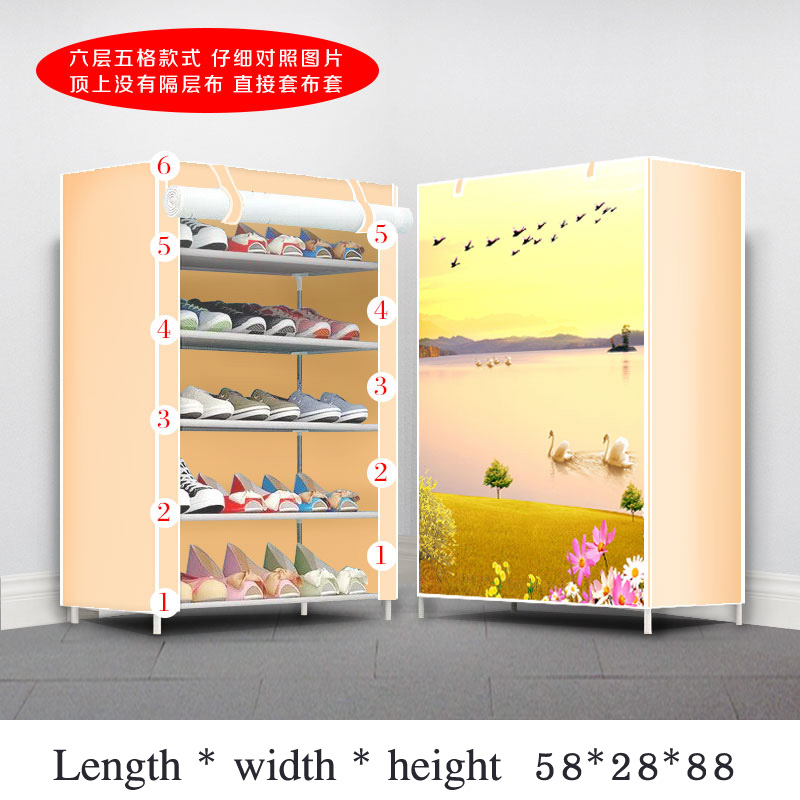 Multi-layer Simple Dustproof Shoe Cabinet With Zipper Folding Assembly Cloth Shoe Storage Rack Home Furniture