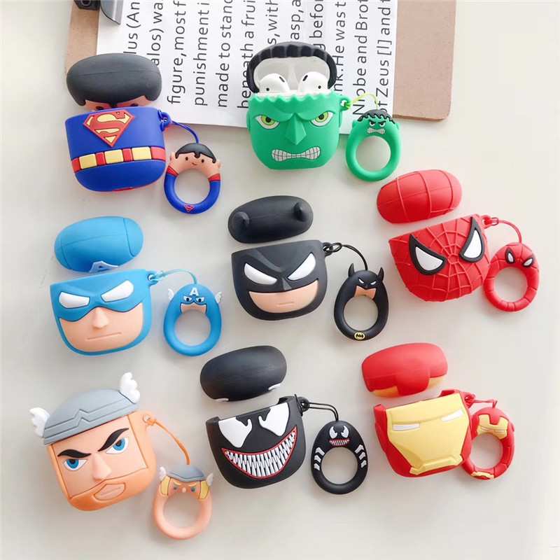 Cartoon 3D Hero Soft Silicone Case For Apple Airpods Shockproof Cover For Air Pods Earphone Cases Cute Air Pods Protector Case in Earphone Accessories from Consumer Electronics