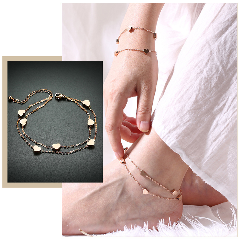 Elegant Heart Link Anklets for Women Anti Allergy Stainless Steel Chain Charms Beach Holiday Gifts for Her Jewelry