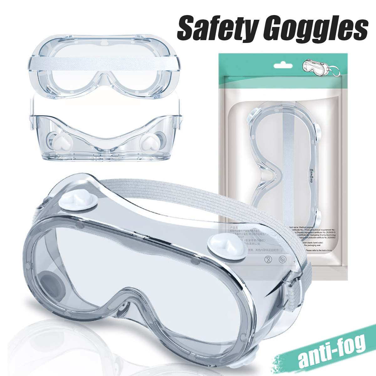 Medical Safety Goggles Fully Enclosed Lens Goggles Eye Protective Glasses Anti-Fog Antisand Dust Splash-proof Resist UV Light