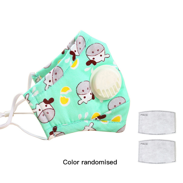 PM2.5 Mask For Kids Child Small Masks Anti-Dust Prevent Flu Safety Breathing Air Valve Cartoon Cute Mouth Mask PM2.5 Filtration 5
