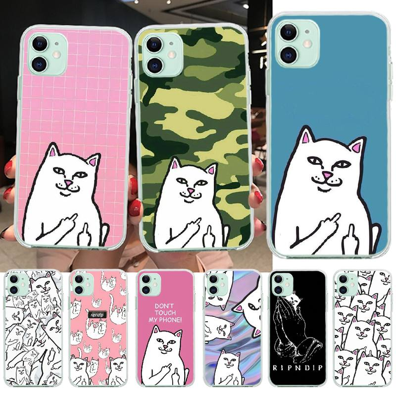 PENGHUWAN Ripndip <font><b>Cat</b></font> Middle Finger <font><b>Cat</b></font> Phone <font><b>Case</b></font> cover Shell for <font><b>iPhone</b></font> 11 pro XS MAX <font><b>8</b></font> 7 6 6S Plus X 5S SE XR cover image