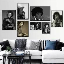 Póster de Jimi Hendrix, Impresión de cantante famosa, leyenda de la música Rock, fotografía Vintage, carteles en blanco y negro, pintura artística para pared