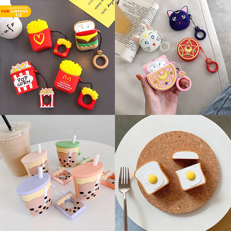 Earphone Case For Airpods Case Silicone Cartoon Headphone Covers For Air Pods 1 2 Cases For Apple Earpods Earbuds Accessories 2