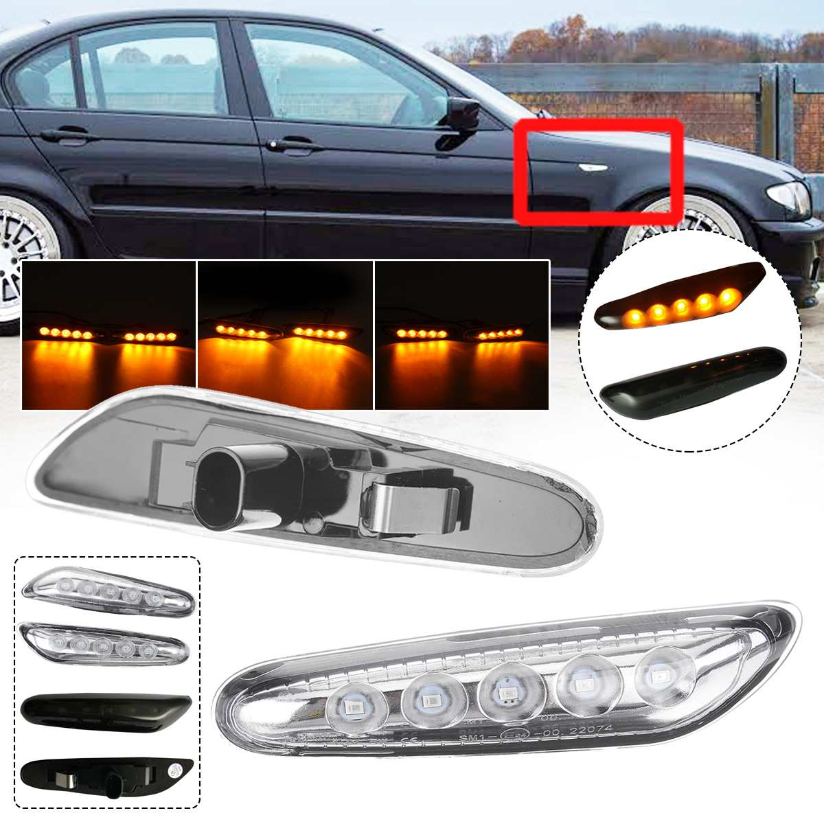 Pair Turn Signal Light LED Side Marker Turn Indicator Blinker Lamp Signal Lamp for BMW E90 E91 E92 E46 E60 E81 E82 E83 E88 E87 image