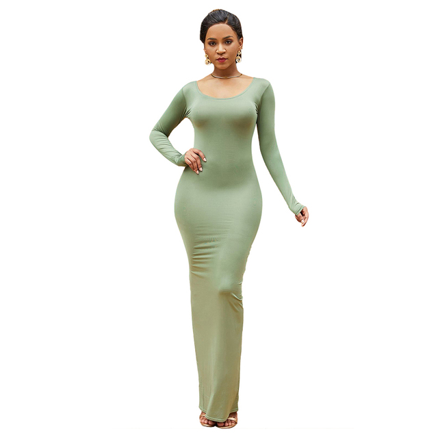 HOT SALES!!! Spring Autumn Sexy Women Solid Color Long Sleeve Round Neck Bodycon Maxi Dress evening party dress sexy comfortable 12