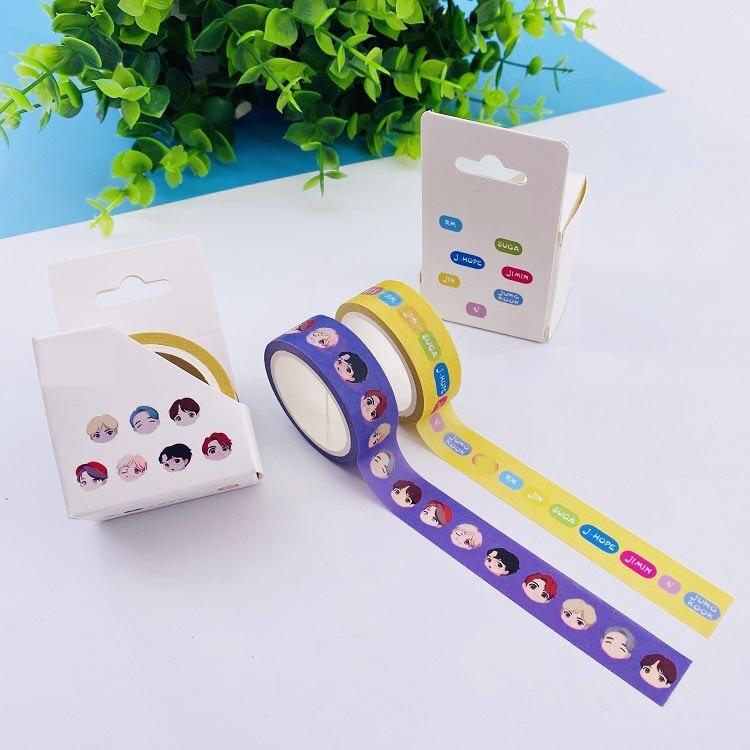 Tape Bangtan Boys Cartoon Tape Kpop Paper Tape Fashion Hand Account Sticker Sticker Concert Concert Same Fan Gift 2pcs/set