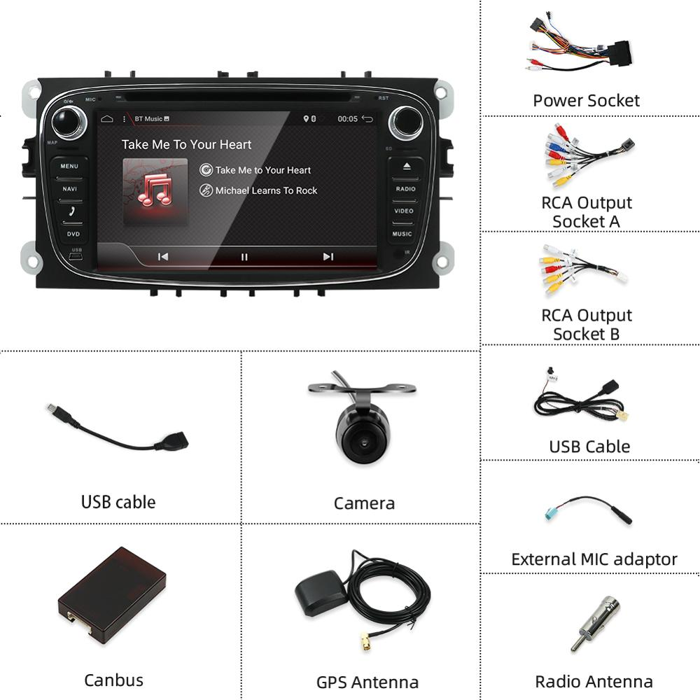 Image 3 - 2 din car radio gps Android 10.0 Car DVD for Ford Focus 2 Mondeo C max S max Galaxy with Wifi 3G BT Audio Radio Stereo Head Unitcar dvdradio gps androidcar radio gps android -