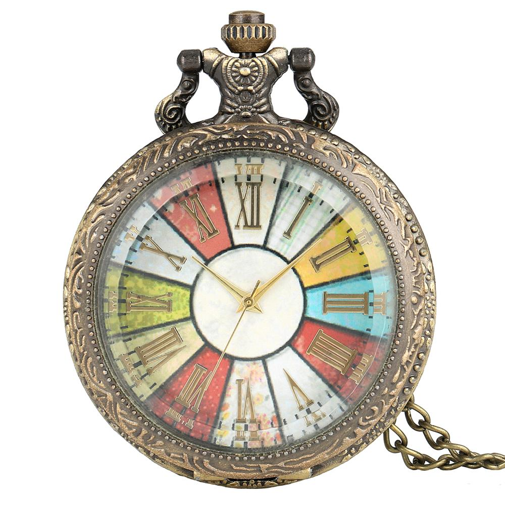 Antique Style Roman Number Colorful Dial Pocket Watch Vintage Pendant Long Chain Steampunk Necklace Retro Gift Men Women