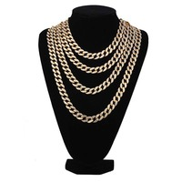 Full Iced Out 1.5cm Wide Gold Silver Paved Rhinestones Miami Cuban Chain CZ Bling Rapper Necklaces For Men Hip Hop Jewelry