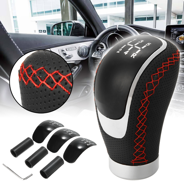5 6 Speed Universal PU Leather Gearshift 96x50mm Manual Car Gear Stick Shift Knob Set Durable Replacement for Car Interior Parts