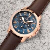 فوسيل ساعة عصرية رجالية فاخرة كوارتز ساعة اليد رجالي كرونوغراف ساعات مع حزام من الجلد reloj deportivo hombre