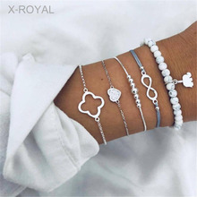 X-ROYAL 5Pcs/set Creative New Style Natural White Pine Stone Bracelets Lucky Number 8 Elephant Heart Charm Silver Sets