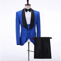 Men Suits Royal Blue Pattern and Black Groom Tuxedos Shawl Satin Lapel Groomsmen Wedding Best Man ( Jacket+Pants+Vest+Tie ) C722