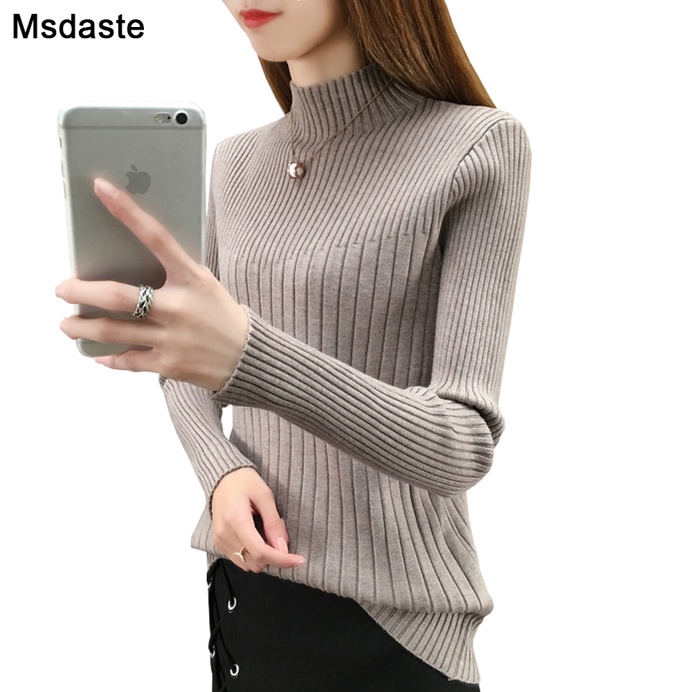 2019 New Autumn Winter Women Knitted Turtleneck Sweater Casual Soft Pullover Jumper Top Fashion Slim Femme Elasticity Pullovers