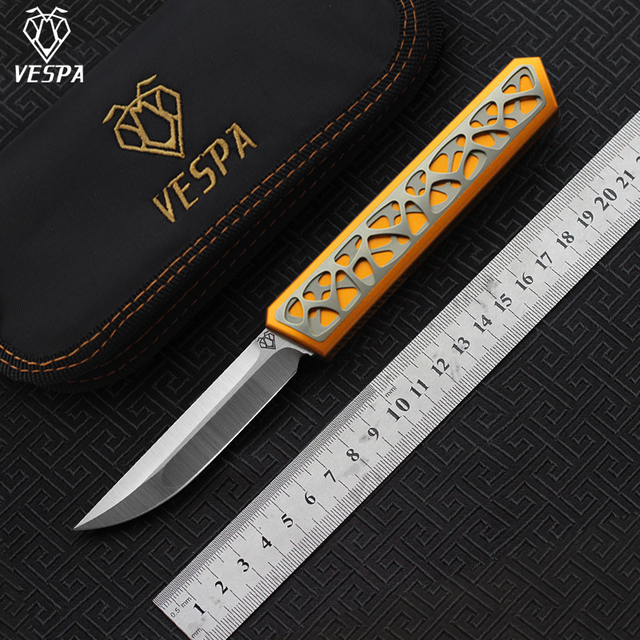 VESPA Dark star hoge kwaliteit Mes M390 Satin Blade Handvat: 7075 Aluminium + TC4, outdoor camping survival messen EDC gereedschappen