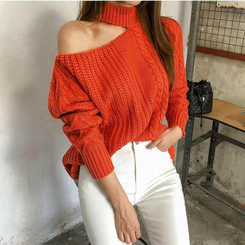 Women Sexy One Shoulder Turtleneck Sweater Solid Twisted Striped Knit Ladies Tops Pullover Batwing Long Sleeve Jumper Sweaters