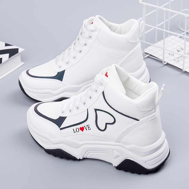 รองเท้าผ้าใบคุณภาพสูงรองเท้าสตรี Vulcanized รองเท้า Casual Chunky สีขาวรองเท้าผ้าใบ Lace Up สะท้อนแสงหญิงแบน Trainers