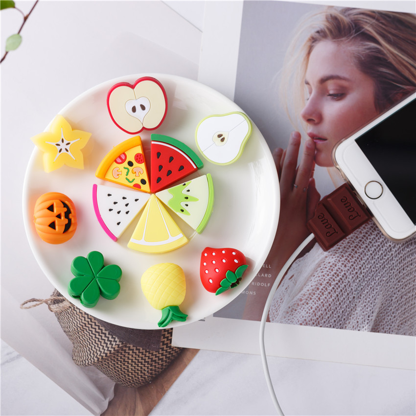 NEW 1PC Cute Fruit Phone USB Cable Protector For Iphone Cable Chompers Cord Animal Bite Charger Wire Holder Organizer Protection