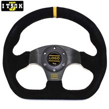 OM Suede Steering Wheel Universal 325mm 13inch Flat JDM Car Racing Rally Sport Drift Simulated Game Aluminum Spoke With Logo