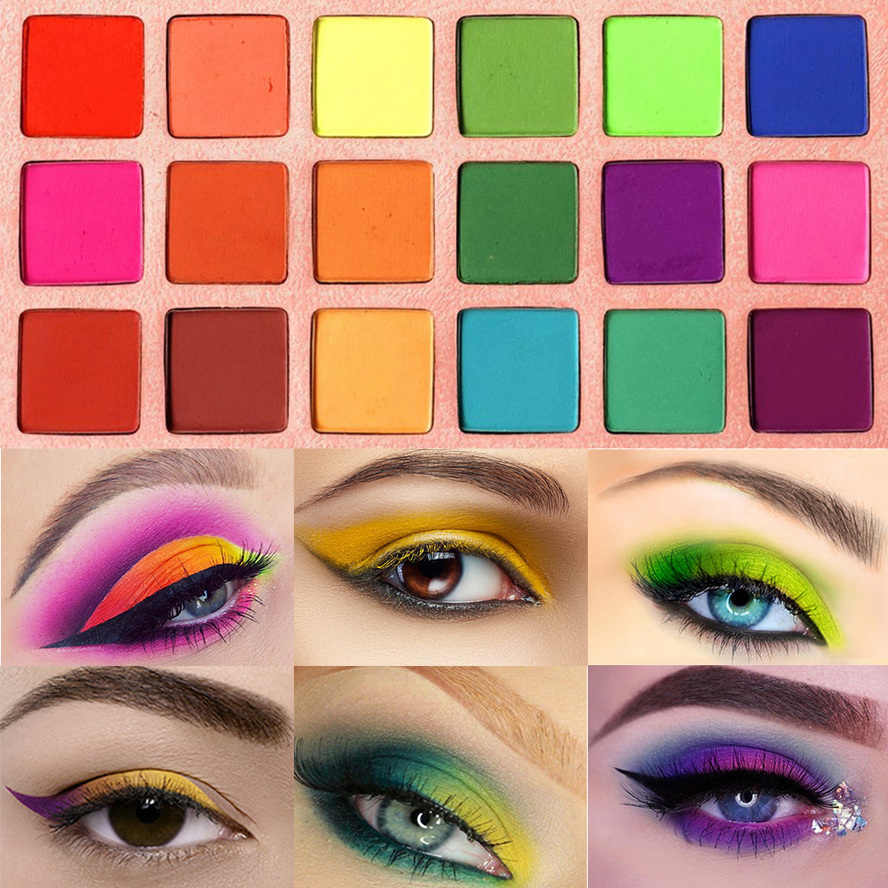 ฤดูร้อนที่มีสีสันอายแชโดว์ Palette Matte 18 สี Shimmer Blendable Bright อายแชโดว์ Silky Powder สีแต่งหน้าชุด