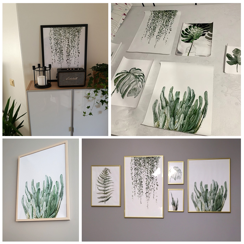 H44d5f2d13d904963a948138e502b1f6eP ART ZONE Tropical Plant Leaves Canvas Art Print Poster Nordic Green Plant Wall Pictures Kids Room Large Painting No Frame