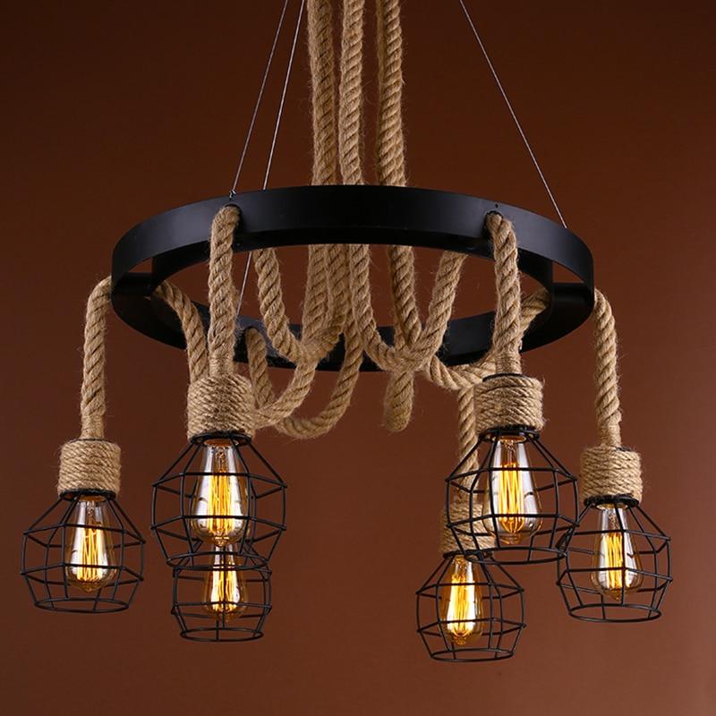 Nordic Personality Vintage Pendant Lights Industrial Loft Cafe Bar Restaurant Hemp Rope Hanging Lamp Home Decor Light Fixtures