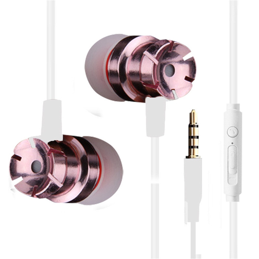 Beautyss  3.5mm Wired Earphone In-Ear Supper Bass Metal Stereo Earbuds Earphone With Mic Headset Universal For Phone Xiaomi